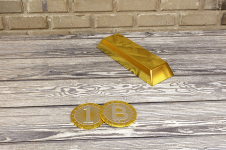 basement: rendered gold bar and bitcoins in the basement