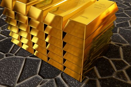 goldbar: rendered goldbars stack on the paving sidewalk