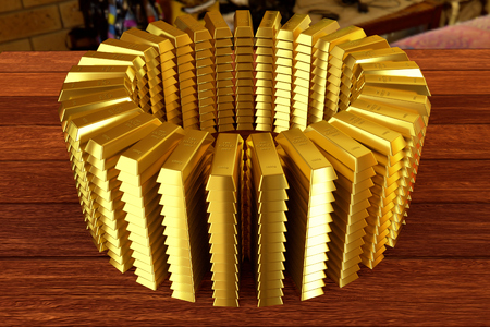 circle heap of a gold bars on the planks Stock Photo