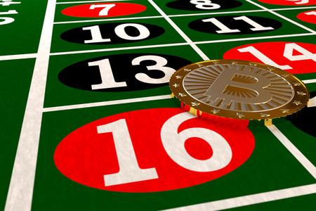 primo piano di bitcoin sul tavolo della roulette