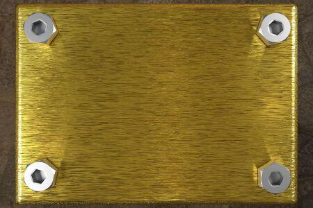 nameboard: blank golden board with four steel screws
