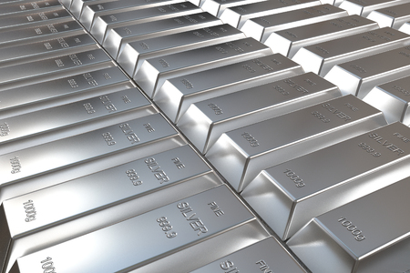 silver bars: rows of rendered silver bars in perspective view