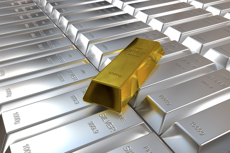 silver bars: rows of rendered silver bars and one goldbar Stock Photo