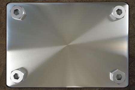 nameboard: blank metal board with four steel screws