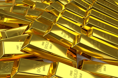 goldbar: 3d rendering of scattered fine gold bars