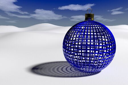 rendered blue glossy openwork christmas bauble on the clear snow