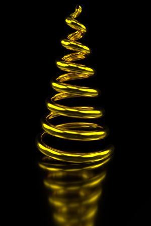 single coil: golden swirled rendered Christmas tree on a black shiny table