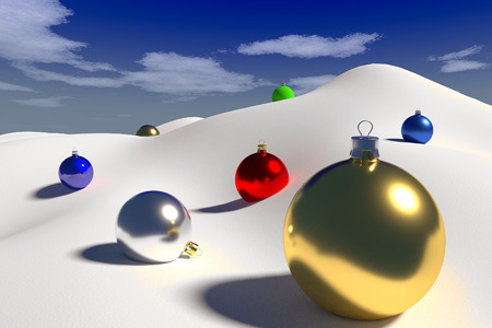 uplands: rendered colorful Christmas baubles on the clear snow