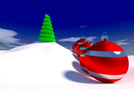 rendered row of Christmas baubles on snowy terrain with the Christmas tree on top