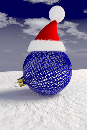 Christmas bauble with a Santa Claus red cap on the snow