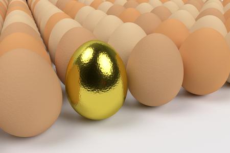 single golden egg among ordinary hen eggs, 3d rendering Stock Photo