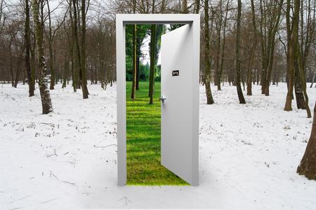 geopende deur in de winterbos met een mening over de lente