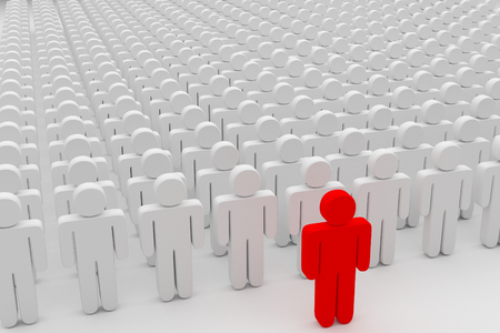 closeup of one red man in front of a crowd of plain people, 3d rendering