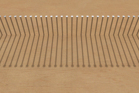 row of nails hammered in the clear wood with a shadow, 3d rendering