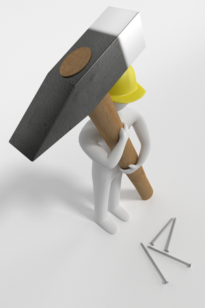 man in yellow hardhat with a big hammer and nails, 3d rendering
