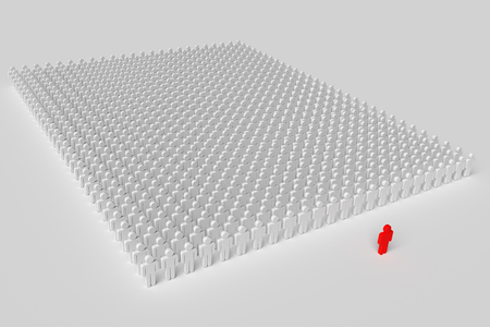 one red man in front of a squad of plain people, 3d rendering