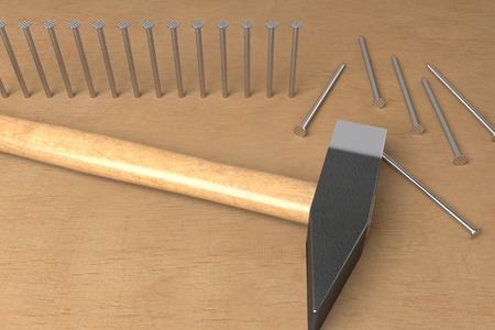 hammered nails and ready to hammer , 3d rendering Stock Photo
