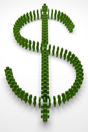 dollar mark made with group of green people, 3d rendering 写真素材