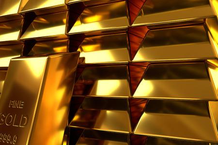 closeup of stacks of gold bars, 3d rendering