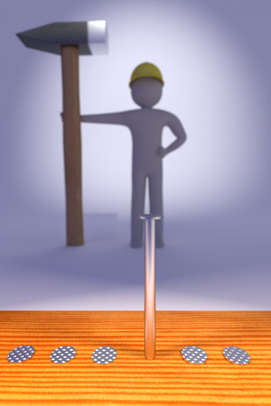 silver nails against the blurred man with the hammer, 3d rendering
