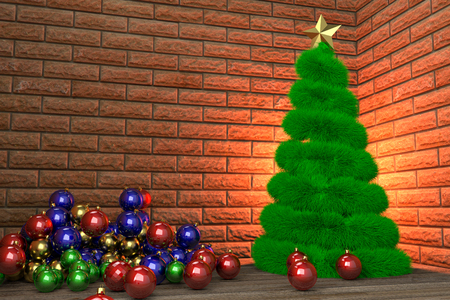 Christmas tree and heap of baubles in the room corner, 3d rendering