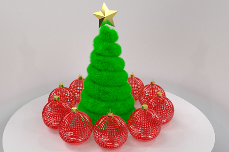 Christmas tree and red baubles around it, 3d rendering