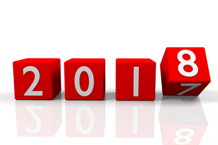 Four red cubes with changing year number, 3d rendering