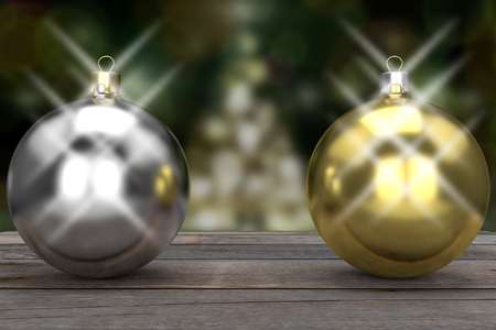 Silver and gold bauble against the illuminated blurred Christmas tree, 3d rendering 写真素材