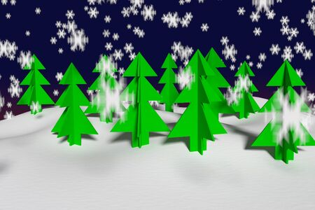 Magical abstract forest at the winter time, 3d rendering 写真素材