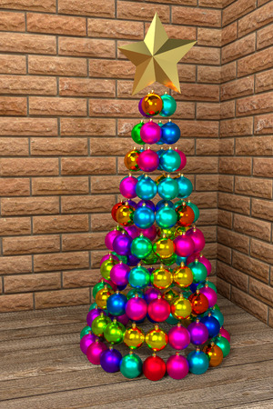 Christmas tree made of colorful baubles, 3d rendering