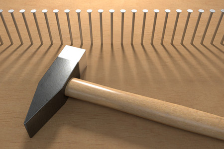 Row of hammered nails and hammer , 3d rendering
