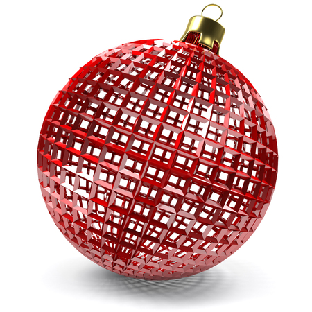 closeup of the red openwork christmas bauble, 3d rendering