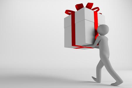 walking man carrying the big giftbox, 3d rendering 写真素材