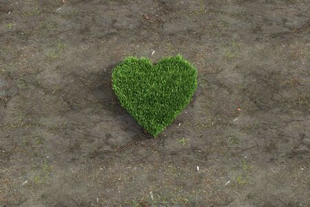 cluster of grass in the shape of a heart, 3d rendering