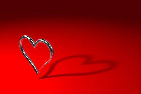 silver shiny metal heart on the red background, 3d rendering 写真素材