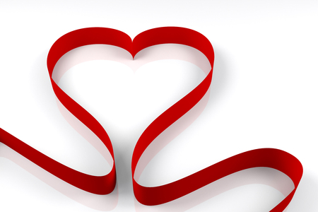 red ribbon arranged in the shape of heart, 3d rendering 写真素材