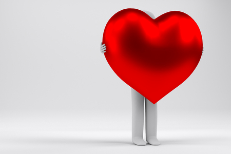 3d man holding the big red heart, 3d rendering