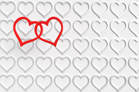 many white and two connected red hearts above