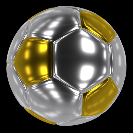 closeup of the silver and golden soccer ball, 3d rendering