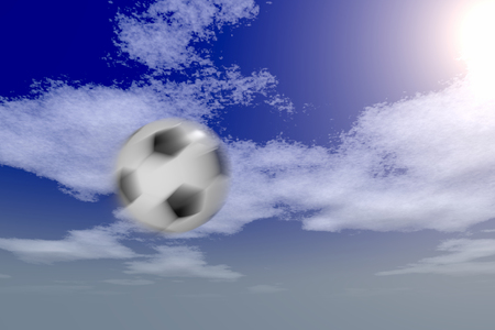soccer ball against the sky with the motion blur effect, 3d rendering