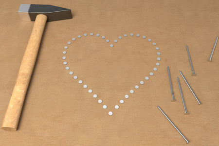 shape of heart made of hammered nails, 3d rendering