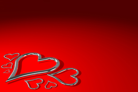 silver shiny metal hearts on the red background, 3d rendering