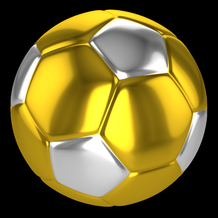 golden and silver soccer ball on the black background, 3d rendering 写真素材