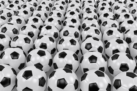 many soccer balls arranged in rows in the perspective view, 3d rendering 写真素材