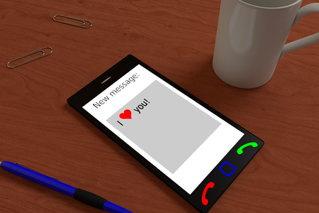 smartphone on the table with the incoming valentines SMS, 3d rendering