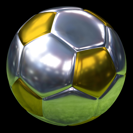 silver and golden soccer ball with the stadium reflection, 3d rendering