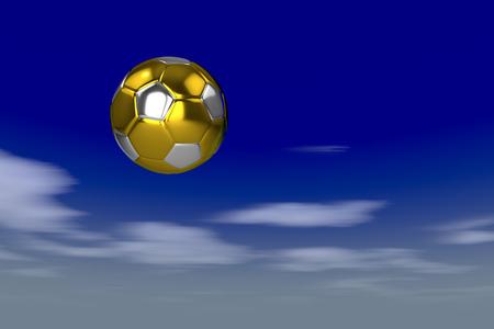 Golden soccer ball against the motion blurred sky, 3d rendering 写真素材