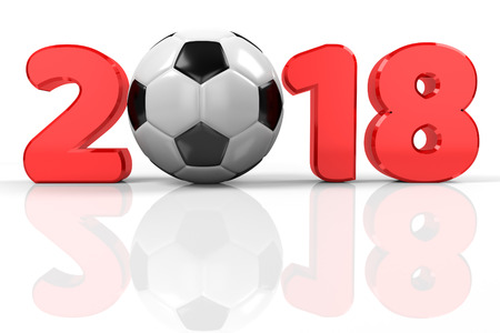 text 2018 with the soccer ball as 0, 3d rendering 写真素材