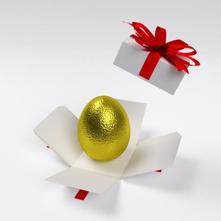 golden easter egg in the opened cardboard giftbox, 3d rendering 写真素材