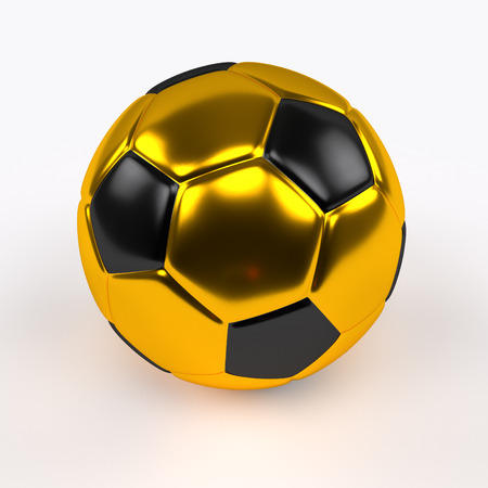 gold and black shiny soccer ball on the white background, 3d rendering
